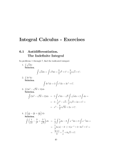 Integral Calculus - Exercises