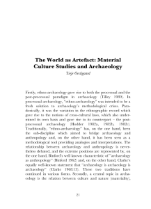The World as Artefact: Material Culture Studies and Archaeology