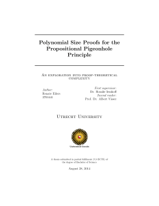Polynomial Size Proofs for the Propositional Pigeonhole Principle