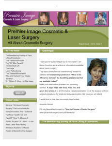 "Newsletter ""All About Cosmetic Surgery"""