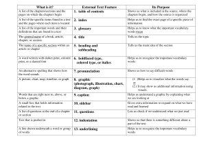 What is it? External Text Feature Its Purpose 1. table of contents 2