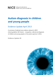 Autism diagnosis in children and young people Evidence Update
