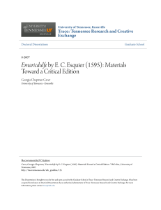 Emaricdulfe by EC Esquier (1595): Materials Toward a Critical Edition