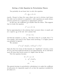 Solving a Cubic Equation by Perturbation Theory