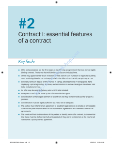 Contract I: essential features of a contract