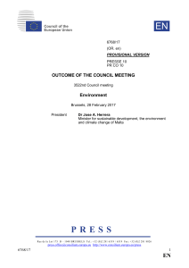 Outcome of the Council meeting - Council of the European Union