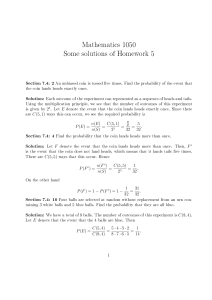 Mathematics 1050 Some solutions of Homework 5