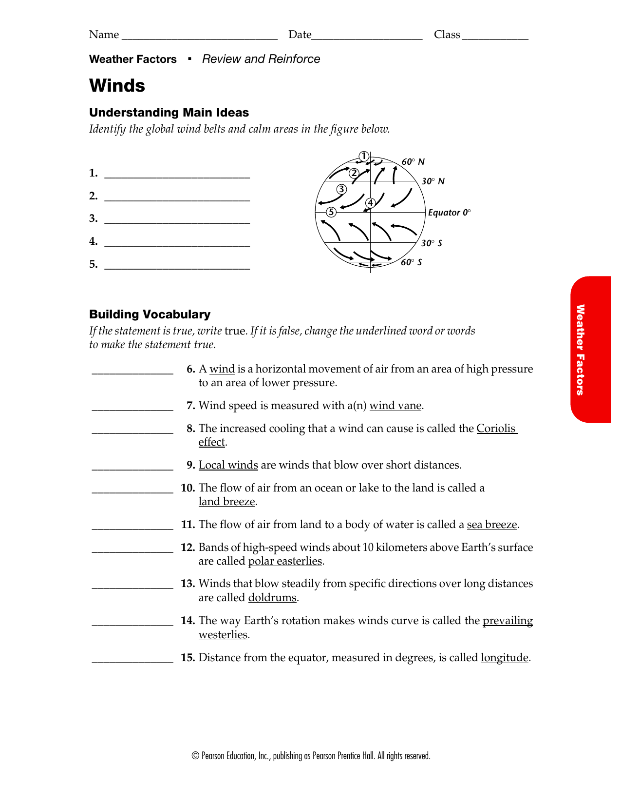 Understanding Main Ideas Identify the global wind belts and calm Throughout Global Wind Patterns Worksheet