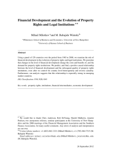 Financial Development and the Evolution of Property Rights and