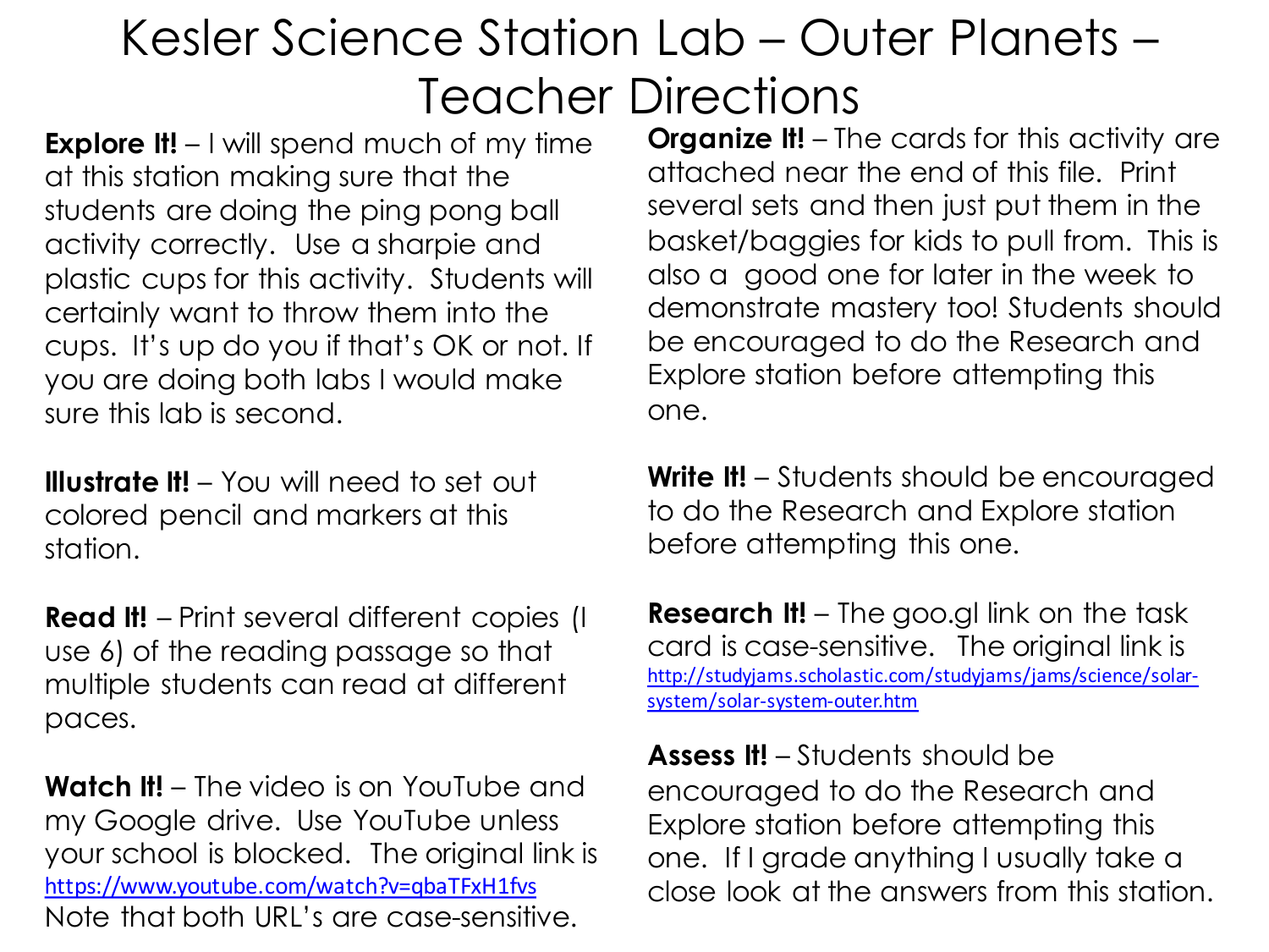 Outer planets lab