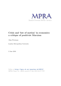 Crisis and `law of motion` in economics: a critique of positivist Marxism