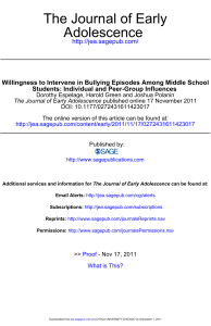 Willingness to intervene in bullying episodes