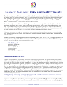 Research Summary: Dairy and Healthy Weight