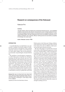 Research on consequences of the Holocaust