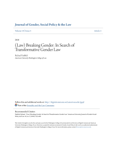 (Law) Breaking Gender: In Search of Transformative Gender Law