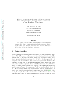 The Abundancy Index of Divisors of Odd Perfect Numbers