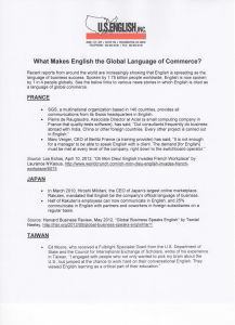What Makes English the Global Language of Commerce?