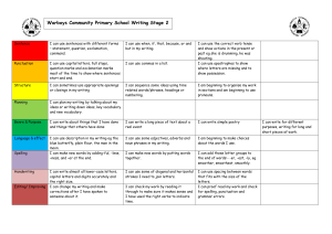 Warboys Community Primary School Writing Stage 2
