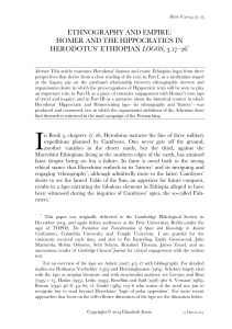 Ethnography and Empire: Homer and the Hippocratics in Herodotus