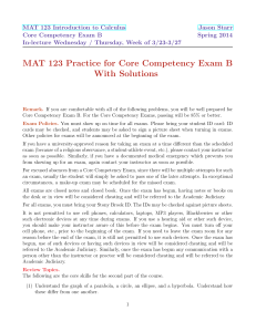 MAT 123 Practice for Core Competency Exam B With Solutions