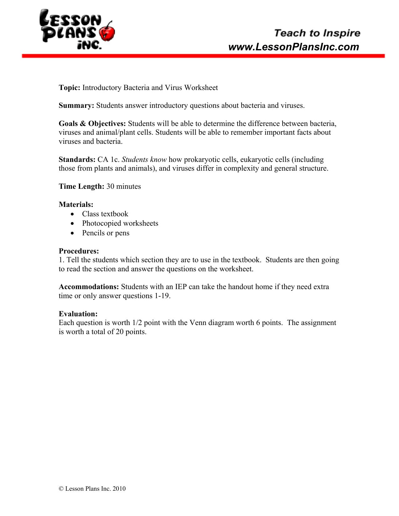 Worksheets Bacteria And Viruses Worksheet comparing viruses and bacteria ws