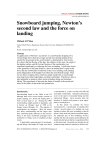 Snowboard jumping, Newton`s second law and the force on landing