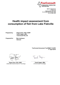 Health impact assessment from consumption of fish from Lake Fiskville