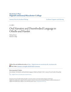 Oral Narrative and Disembodied Language in Othello and Hamlet