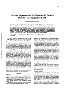 Variable Expression of the Mutation in Familial Defective