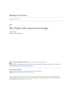 The Vitality of the American Sovereign