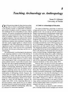Teaching Archaeology as Anthropology. - CLAS Users