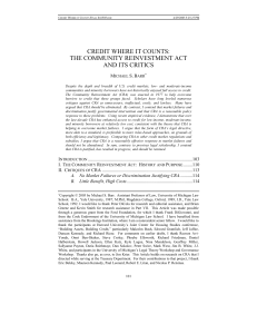 Credit Where it Counts: The Community Reinvestment Act and its