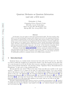 Quantum Mechanics as Quantum Information (and only a little more)