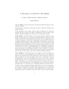 A discussion of Aristotle`s De Anima