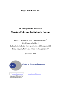 An Independent Review of Monetary Policy and Institutions in Norway