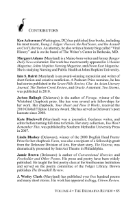 contributors - The Delmarva Review