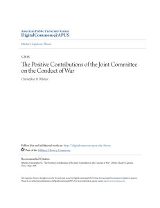 The Positive Contributions of the Joint Committee on the Conduct of