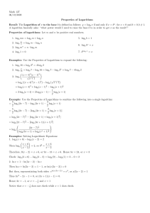 Properties of Logarithms Handout