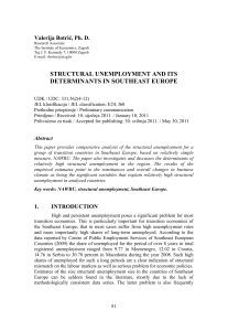 STRUCTURAL UNEMPLOYMENT AND ITS DETERMINANTS IN