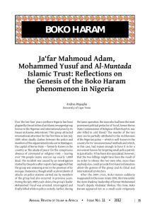Boko Haram: Ja`far Mahmoud Adam, Mohammed Yusuf and Al