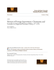 Christianity and Gender in Imperial Roman Policy, 57-235.