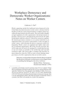 Workplace Democracy and Democratic Worker Organizations: Notes