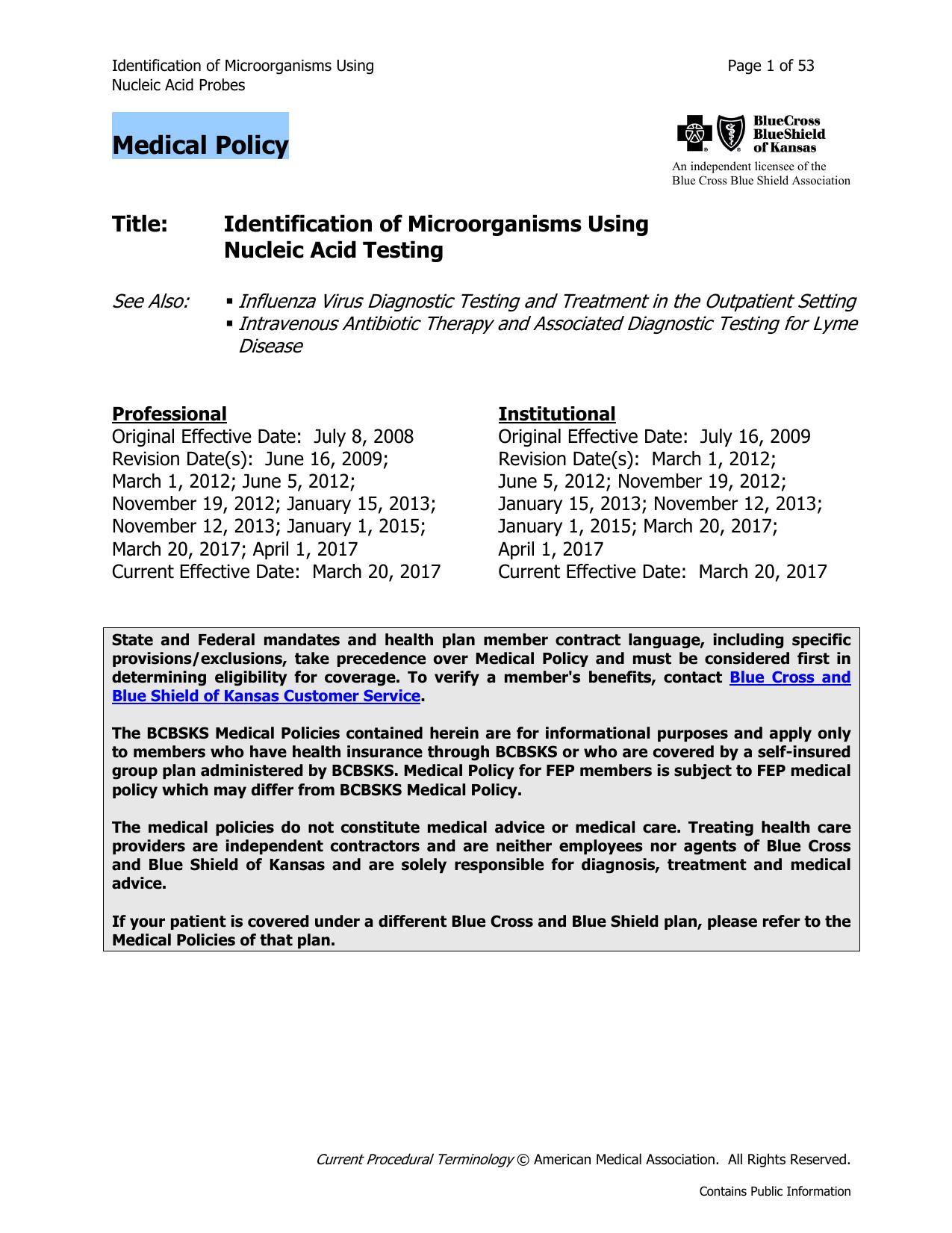 Identification of Microorganisms Using Nucleic Acid Testing