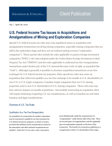 U.S. Federal Income Tax Issues in Acquisitions and Amalgamations