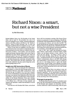 Richard Nixon: A Smart, But Not a Wise President