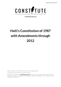 Haiti`s Constitution of 1987 with Amendments