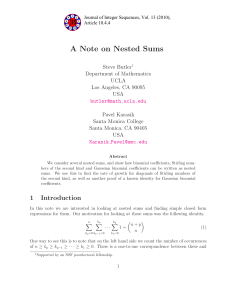 A Note on Nested Sums