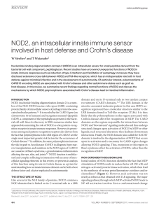 NOD2, an intracellular innate immune sensor involved in