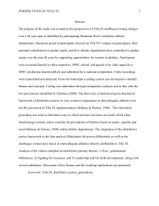 PERSPECTIVES OF TITLE IX 1 Abstract The purpose of the - K-REx
