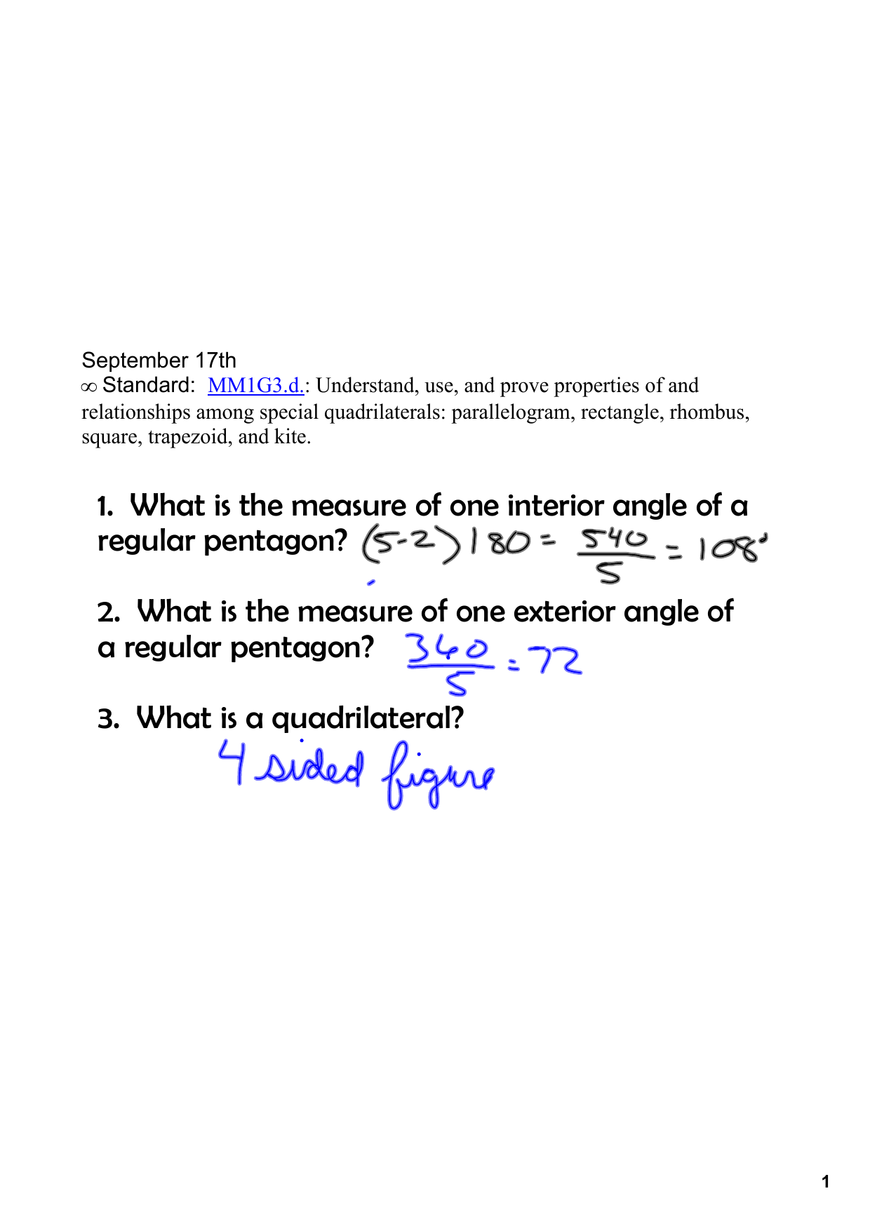 1 What Is The Measure Of One Interior Angle Of A